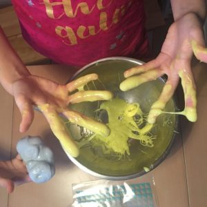 Yellow food colouring added to PVA Glue and wshing liquid made our UK recipe slime
