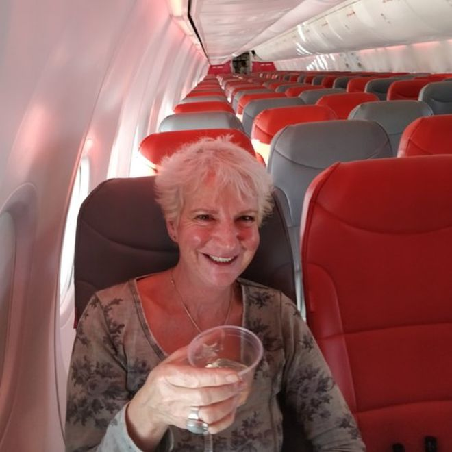 Today, Karon, we'll be flying at 35,000 feet: Woman only passenger on holiday jet