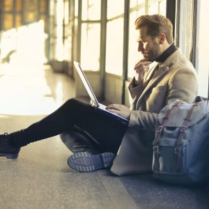 TripAdvisor: Typing on the floor of the airport (Photo: Bruce Parry)
